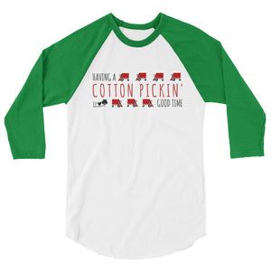 Cotton Pickin' Good Time (Red Print) 3/4 sleeve raglan shirt
