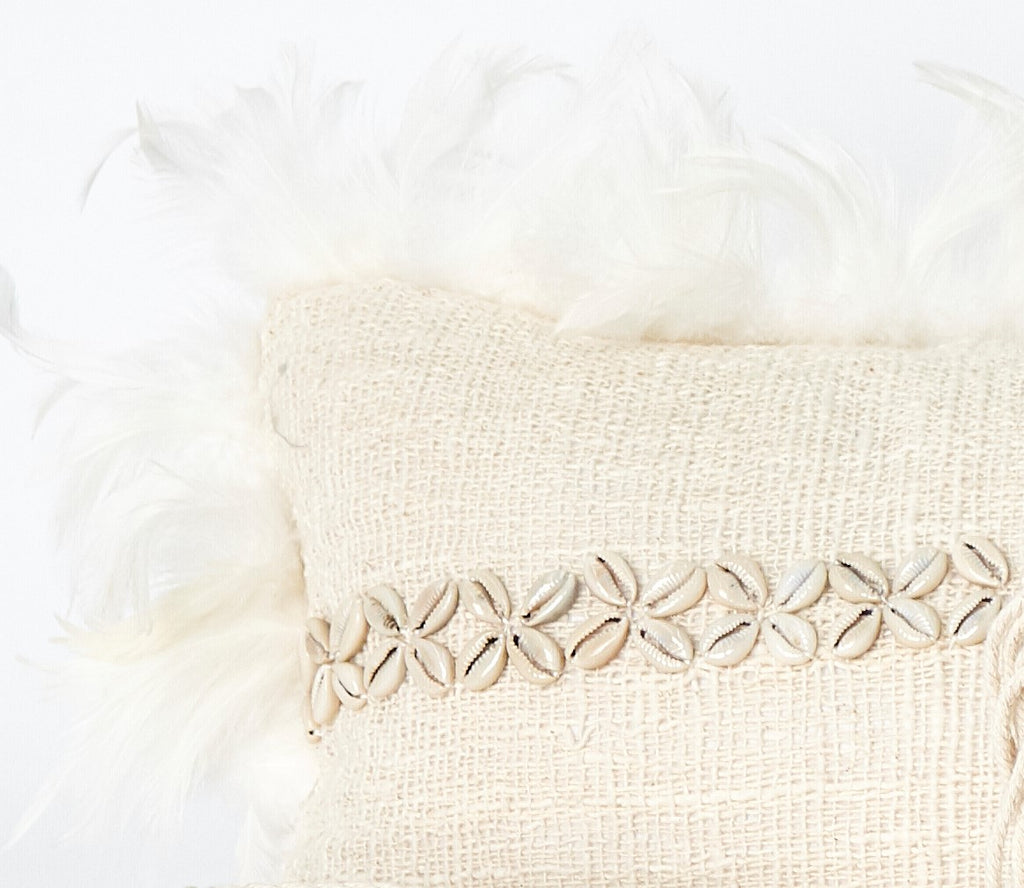 Decorative Pillow Cover with Shells and Feathers