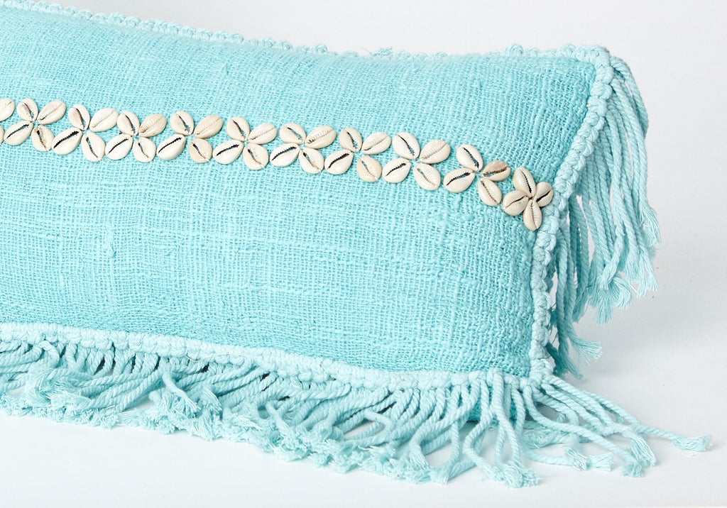 Decorative Pillow with Shells and Fringe