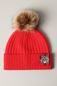Dog Mom Pom Pom Hat Red