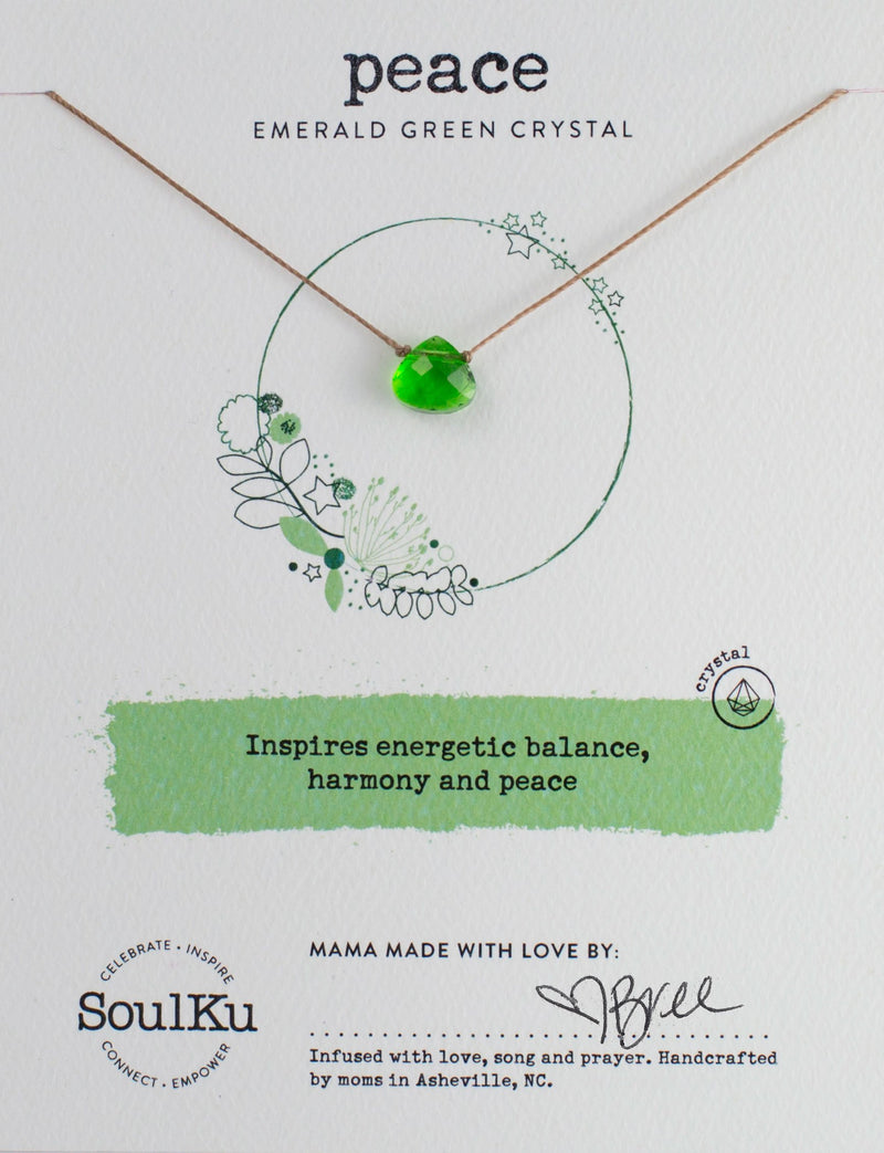 EMERALD GREEN CRYSTAL SOUL SHINE NECKLACE FOR PEACE