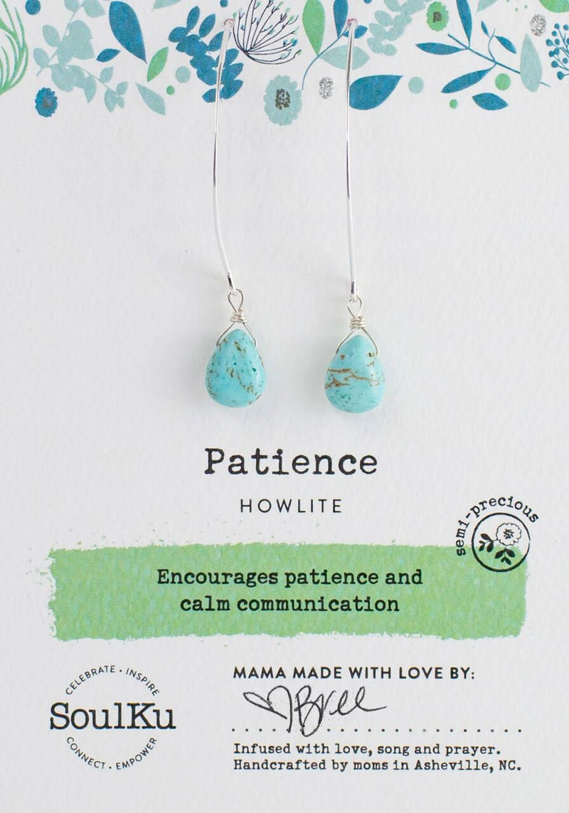 HOWLITE SOUL-FULL OF LIGHT LONG EARRINGS FOR PATIENCE