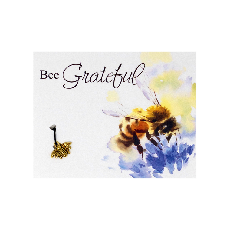 Bee Grateful Card and Bracelet Silver Bees