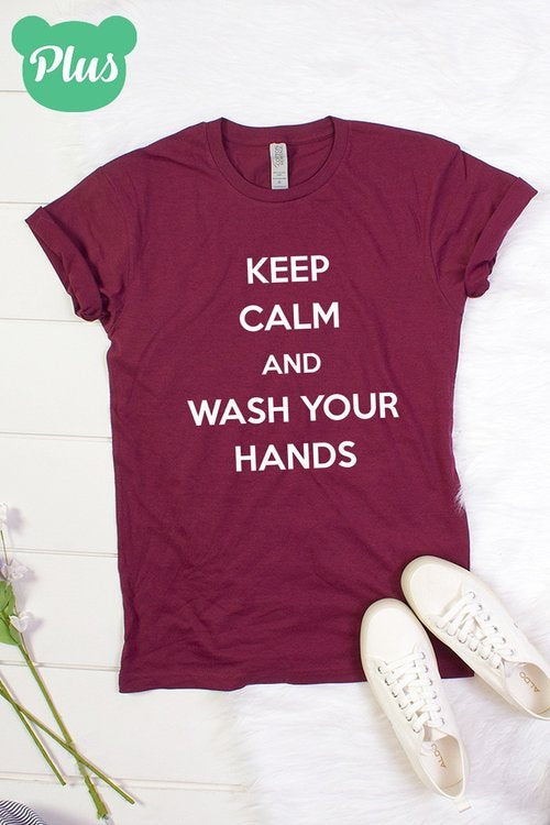 T- Shirt Plus Size Keep Calm and wash your hands