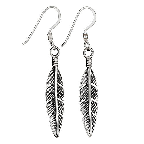 Feather Dangle Earrings-Sterling Silver