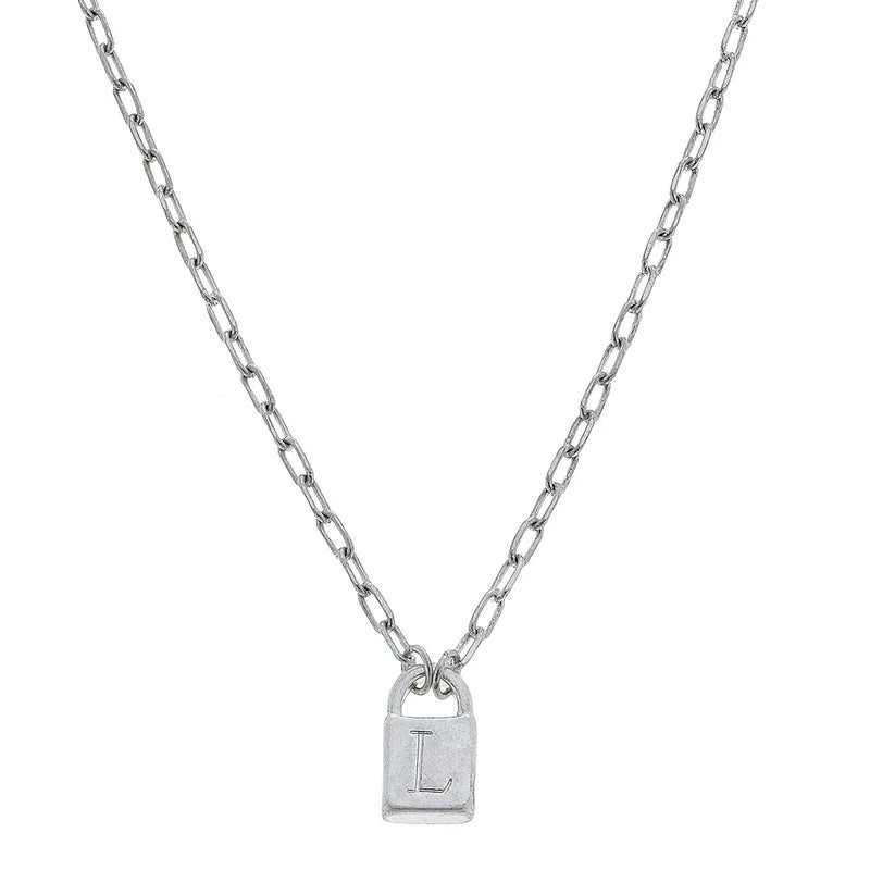 Padlock Initial Necklace