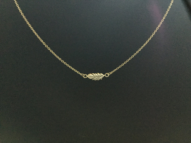 Petite Feather Necklace Sterling Silver