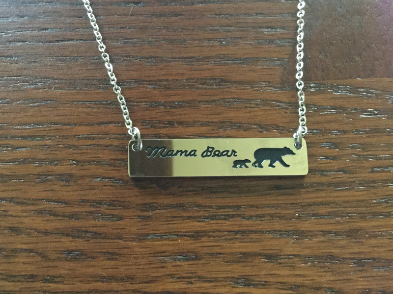 Mama Bear of 1 Bar Necklace