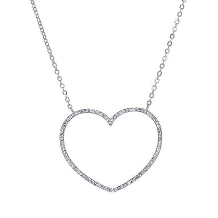 Open Heart Sparkle Long Necklace