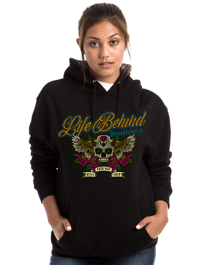 Flying Sugar Skull Ladies Hoodie