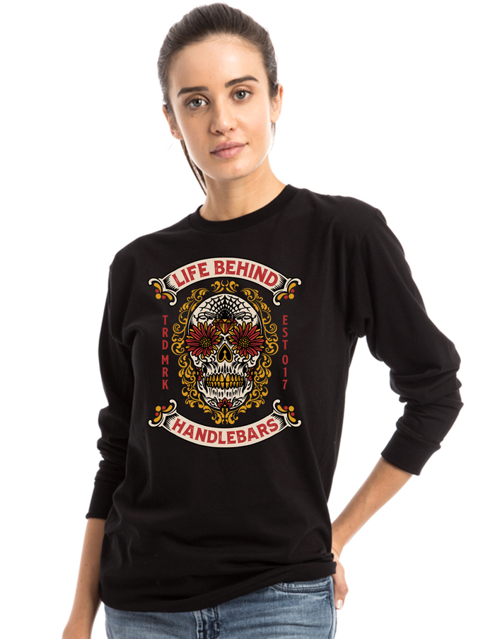Flower eyes Sugar Skull long sleeve ladies T