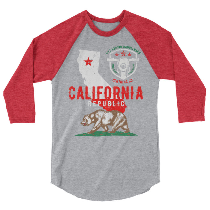 Baseball Raglan 3/4 Sleeve Shirt(california state)