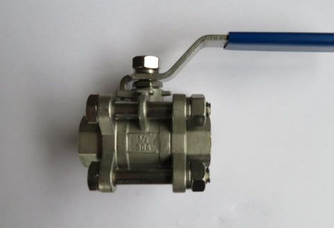 1/2 inch NPT 3pc Stainless Steel Ball Valve