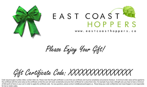 Gift Certificates - East Coast Hoppers
