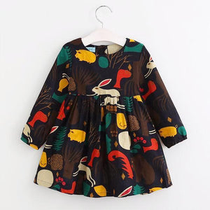 Long Sleeve Animal Graffiti Dress