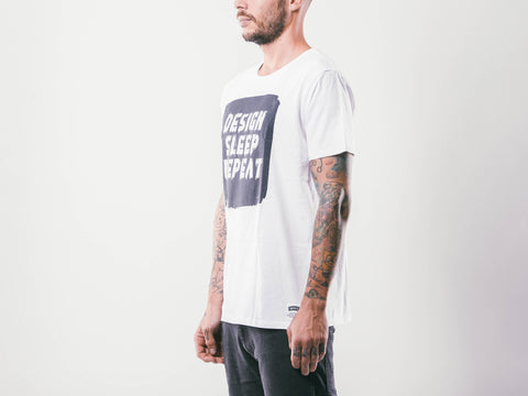 Design Sleep Repeat M's Tee | White