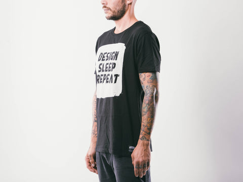 Design Sleep Repeat M's Tee | Black