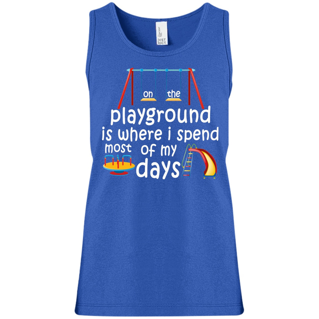 T-Shirts - On The Playground Girls' 100% Cotton Tank Top