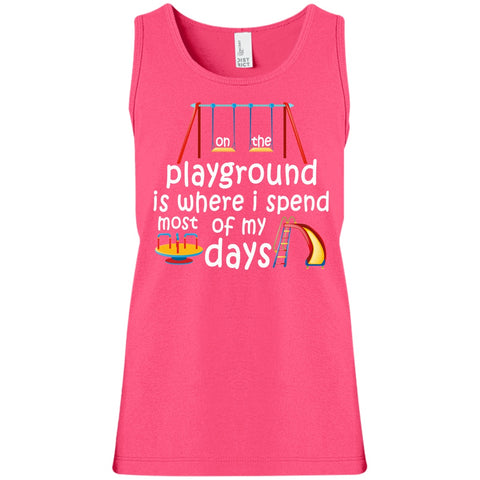 Image of T-Shirts - On The Playground Girls' 100% Cotton Tank Top