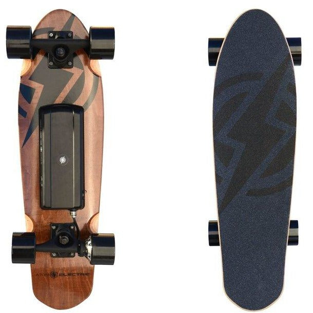 "Atom Electric Skateboards H4 Kicktail- 400W Single Hub Motor - 9 MPH 4 Mile Range - 27.6"" Deck - 55Wh Rechargeable Lithium-ion Battery - Wireless Remote Control - ElectricSkateHQ"