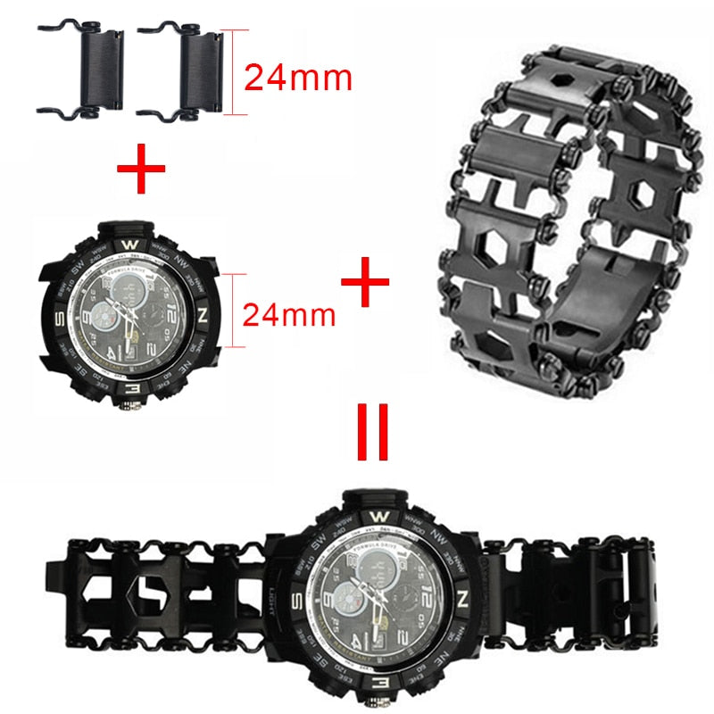 29 In 1 Multifunction Tool Bracelet Outdoor Emergency Kit - Black Stainless Steel - Mens Watch Links - ElectricSkateHQ