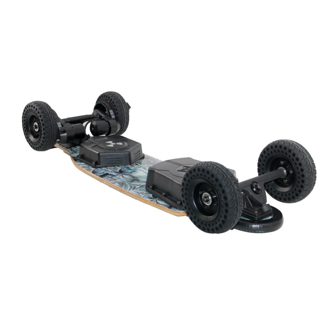 "Chargiot BOMB All Terrain Electric Skateboard - 2400W Dual Belt Drive Brushless Motors - 30MPH 15 Mile Range - 38.5"" Deck - 6"" Airless AT Wheels - 396Wh / 11Ah Rechargeable Lithium Ion Battery - Wireless Remote Control - ElectricSkateHQ"