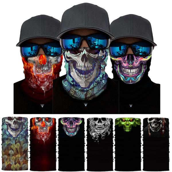 Face and Neck Protection Mask - Cool Skeleton Designs - Quick-Drying Moisture Absorbent Headwear - Headband Balaclava - UV Sun, Cold and Insects Shield - ElectricSkateHQ