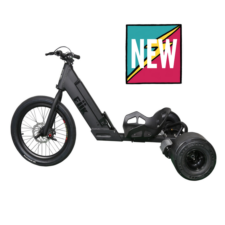 "FiiK Drifter Off Road All Terrain Electric Slide Trike - 2000W Dual Belt Drive Brushless Motors - 25MPH 45 Min Run Time - 10"" x 5"" Custom Designed Slick Drift Wheels - 11Ah Rechargeable Lithium Ion Battery - ElectricSkateHQ"