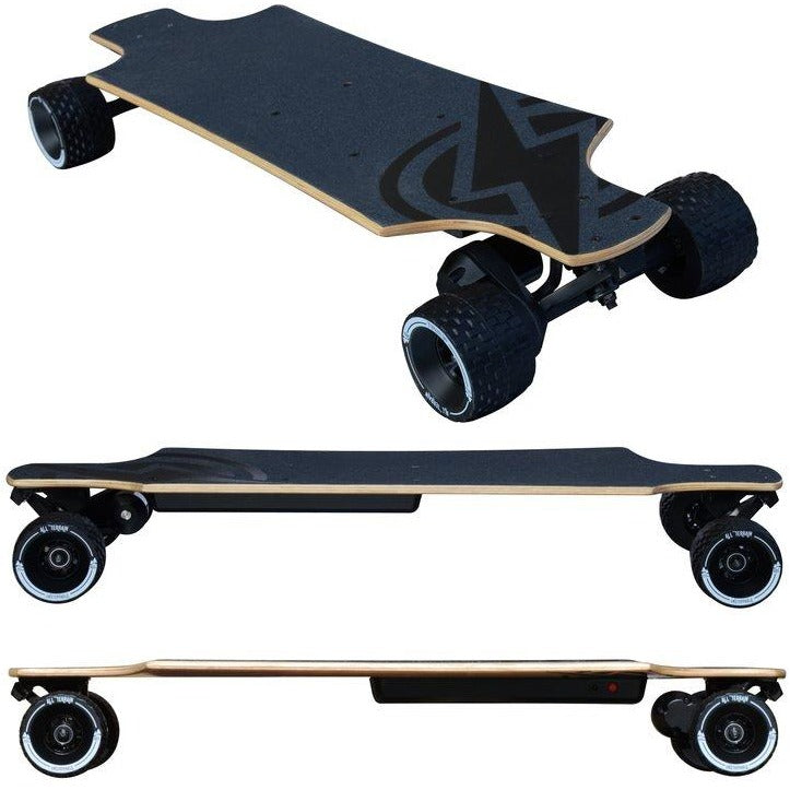 "Atom Electric Skateboards B10.X All-Terrain Off Road Longboard - 1000W Single Belt Drive Motor - 15 MPH 7 Mile Range - 35.8"" Deck - 90Wh Rechargeable Lithium-ion Battery - Wireless Remote Control - ElectricSkateHQ"