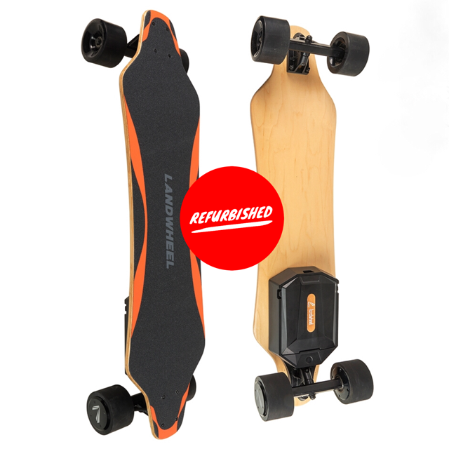 "Landwheel L3-AX Gen 5 REFURBISHED Electric Skateboard - Powerful 2200W Dual Hub Wheel Brushless Motors - 28 MPH 7 Mile Range - 37.4"" Deck - 115Wh Easy Swap Rechargeable Lithium Battery - 2.4Ghz Wireless Remote Control - Spare Drive Wheel Set Included - ElectricSkateHQ"