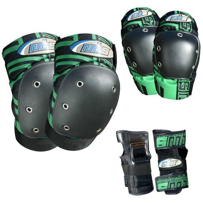 MBS Protective Gear Skateboard Pro Pads Tri-Pack - Includes Wrist Guards, Elbow Pads and Knee Pads - ElectricSkateHQ