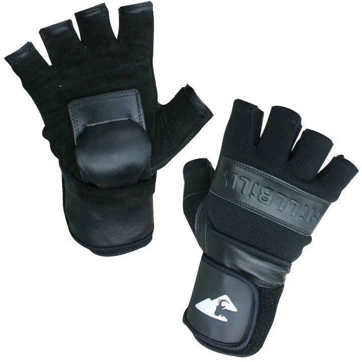 Hillbilly Protective Gear Skateboard Wrist Guard Gloves - Black - Half Finger - ElectricSkateHQ