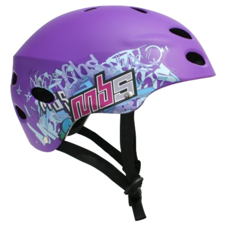MBS Protective Gear Skateboard Helmet - Purple Spray Paint Design - ElectricSkateHQ