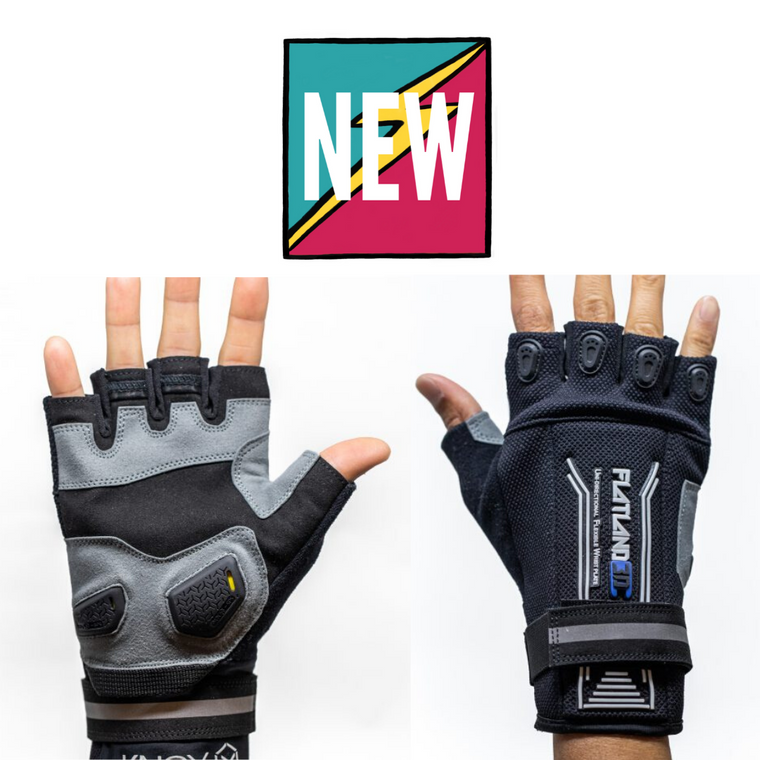 Flatland3D Knox Pro Fingerless eSkate Protective Gear Skateboarding Gloves - Half Finger - Perfect Remote Grip - Patented Wrist Protection - Designed for Maximum Comfort - ElectricSkateHQ
