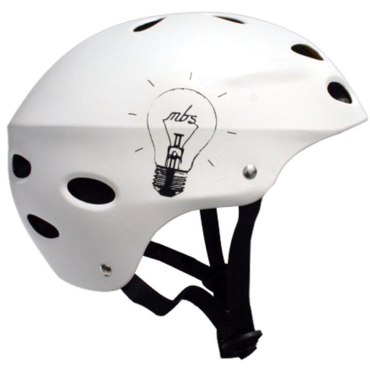 MBS Protective Gear Skateboard Helmet - Bright Idea - White - ElectricSkateHQ
