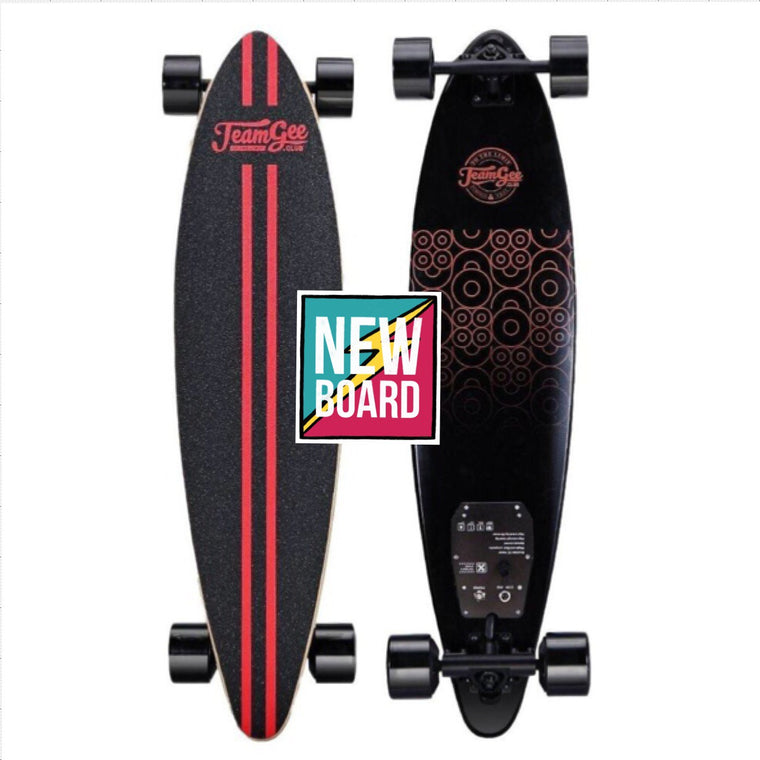 "TeamGee H6 Ultra Thin Pintail Electric Skateboard - 760W Dual Hub Wheel Motors - 18 MPH 10 Mile Range - 38"" Deck - 126Wh Rechargeable Lithium-ion Battery - 2.4GHz Wireless Remote Control - ElectricSkateHQ"