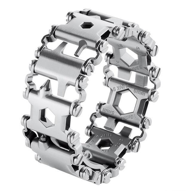 29 In 1 Multifunction Tool Bracelet Outdoor Emergency Kit - Silver Stainless Steel - Mens and Womens Sizes - Mens Watch Links Available - ElectricSkateHQ