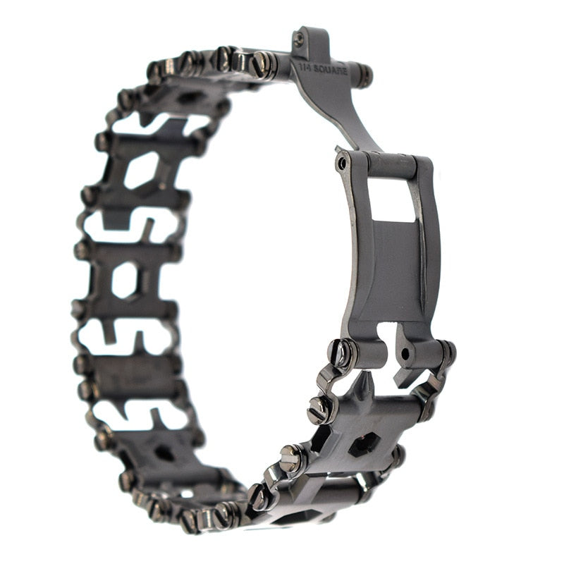 29 In 1 Multifunction Tool Bracelet Outdoor Emergency Kit - Black Stainless Steel - Mens and Womens Sizes - Mens Watch Links Available - ElectricSkateHQ