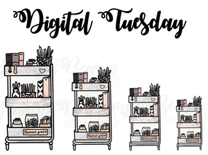 Digital Tuesday-Marble Planner Girl Cart