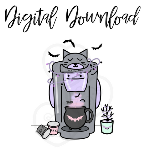 Digital Download-Spooky Kitty Coffee Maker