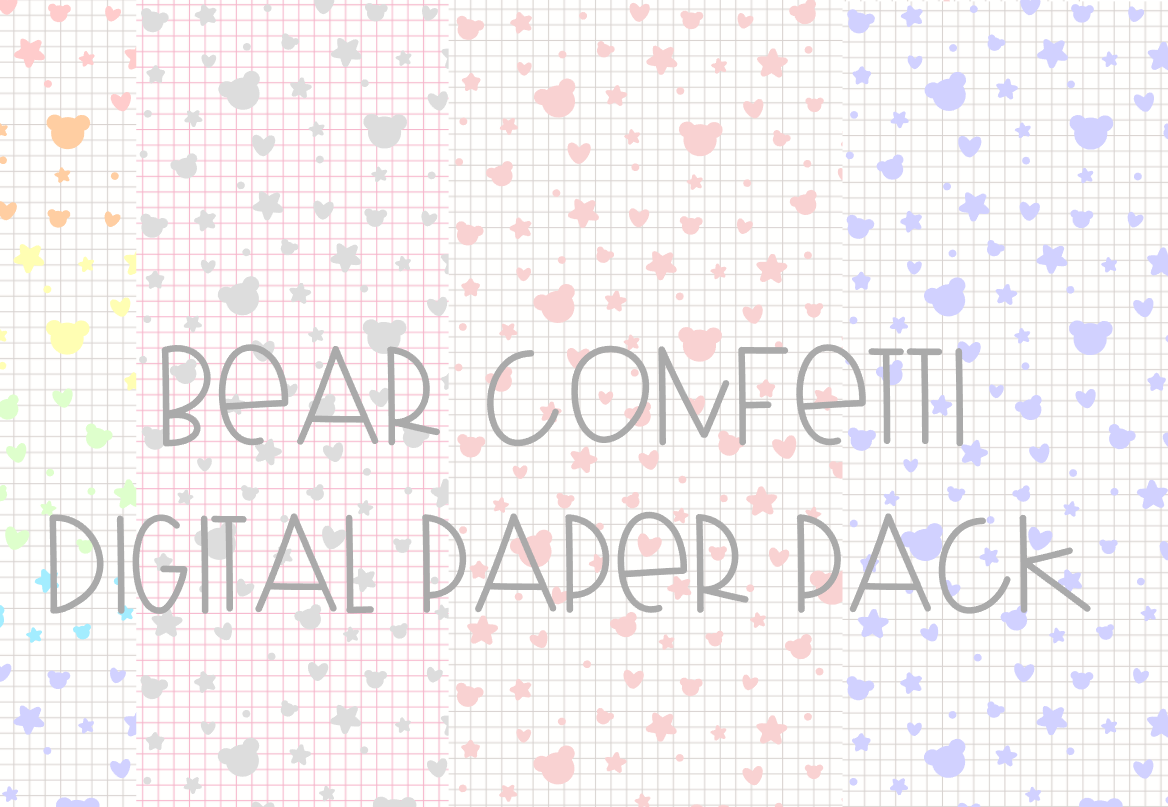 Bear Confetti Grid Digital Paper Pack