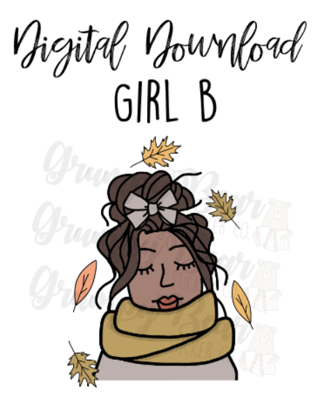 Digital Download-Fall bun girls-GIRL B