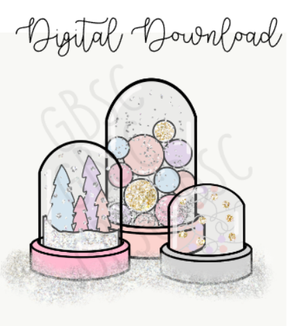 Digital Download-Pastel Winter Globes