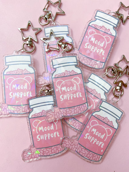 Acrylic Sparkle Mood Support Keychain-RTS