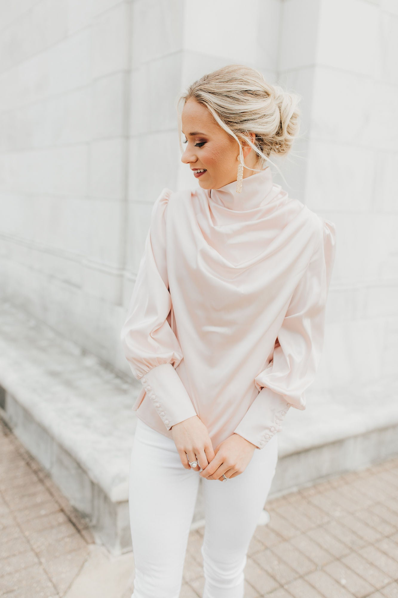 Vanessa Satin Blouse - Blush