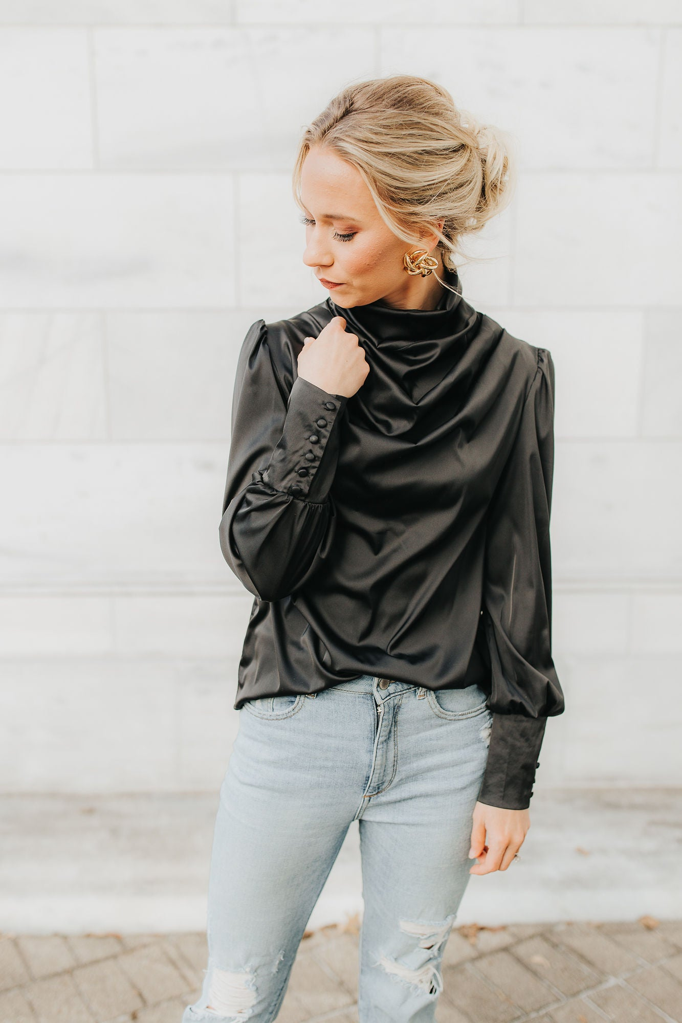 Vanessa Satin Blouse - Black
