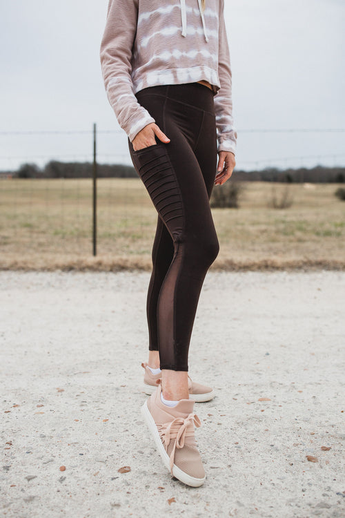 In A Mesh Capri Leggings - Coffee