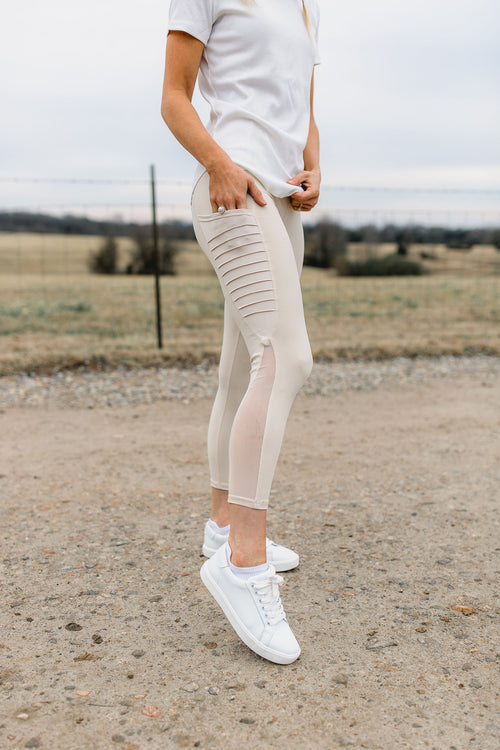 In A Mesh Capri Leggings - Natural