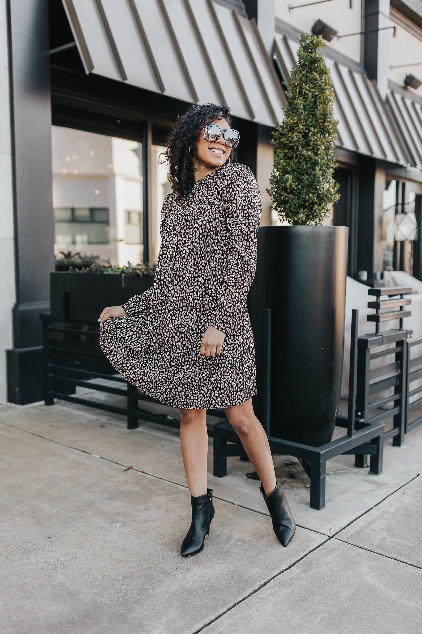 Zoey Animal Print Mini Dress