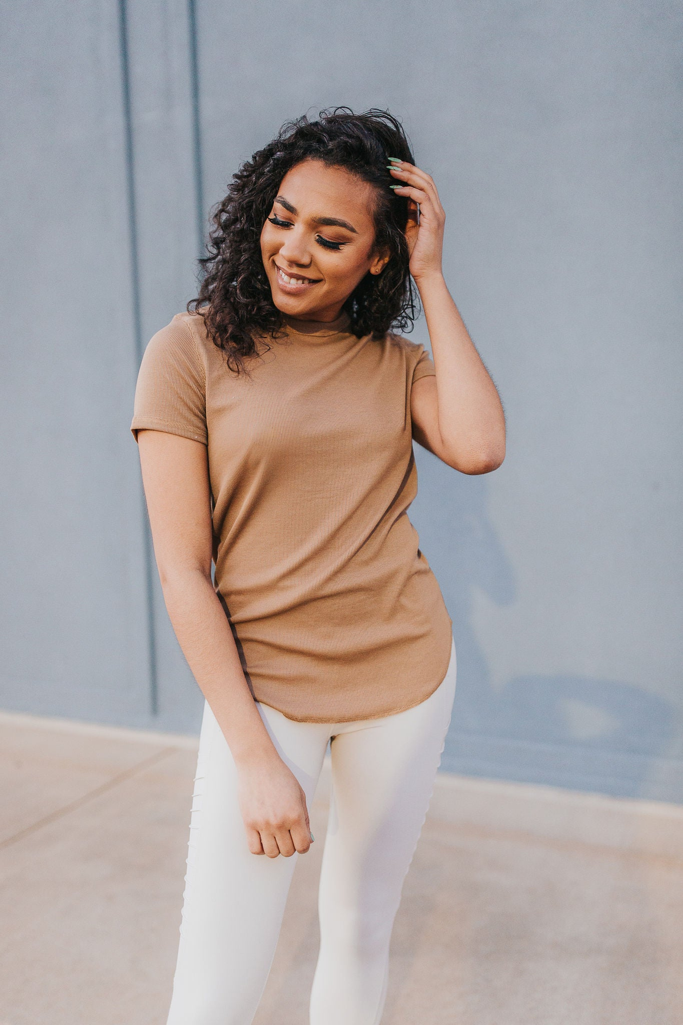 Cally Classic Ribbed Top - Sand